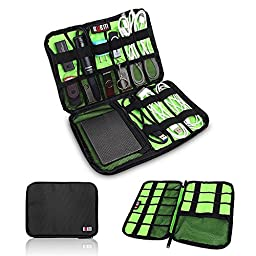 BUBM Universal Cable Organizer Electronics Accessories Case Various USB, Phone, Charge, Cable organizer Travel Organizer--Large (Black)