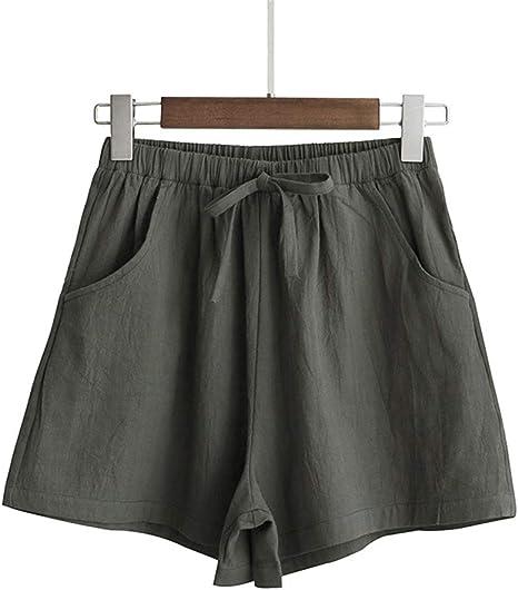 DKXLW Pantalones Cortos De Mujer,Verde Pino Mujer Ropa De Algodón ...