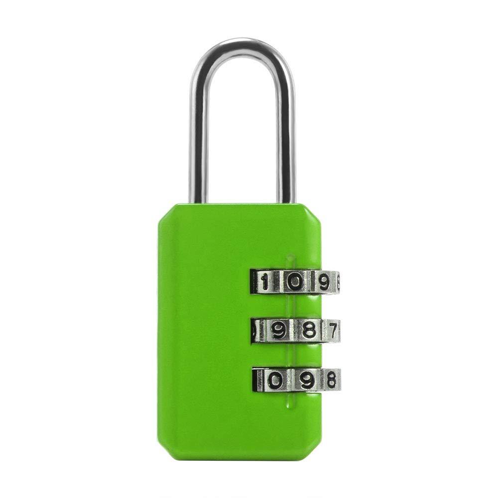 ONEVER Nouveau Rinitialisable 3 Digits Dial Combination Valise bagages Mot de passe code de verrouillage vert Padlock