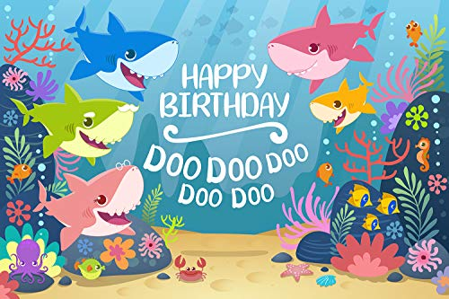 GYA Cartoon Cute Shark Happy Birthday Theme Backdrop for Photography Under The Sea Birthday Party Background Baby Shower Kids Party Newborn Child Family Portrait Studio Props -