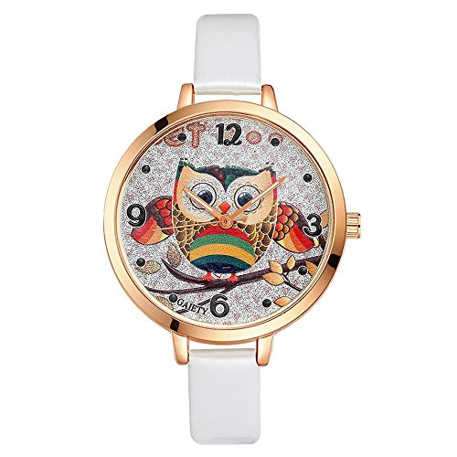 Watches for Women Lovely Cartoon Quartz Wristwatch Colorful Owl Pattern Dial PU Strap Analog Wrist Watch Best Gift for Girls Female(White)