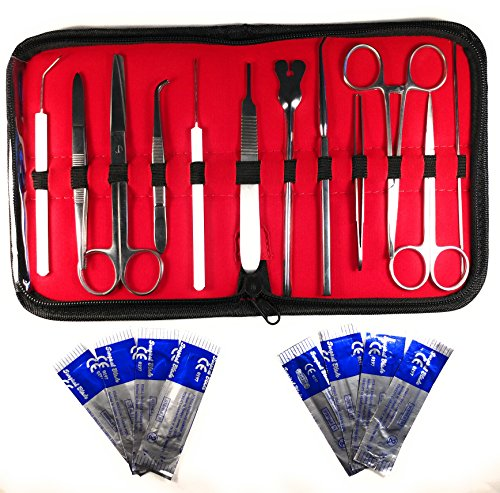 20 Pcs - Advanced Stainless Steel Biology Lab/Anatomy/Medical Student Dissection Kit Set - Scalper Knife Handle, Blades, Forceps, Scissors and Tweezers - 12 Instruments, 8 Blades ()