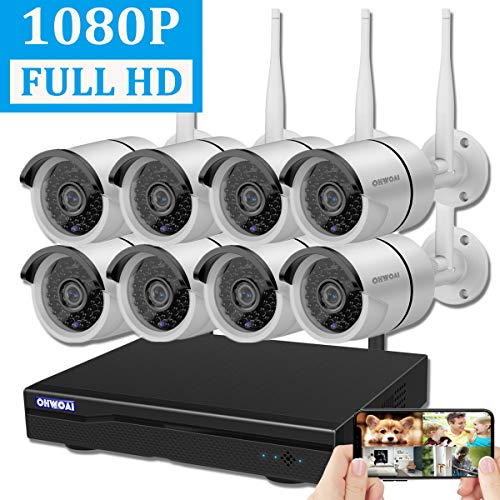 【2019 Newest】OHWOAI Security Camera System Wireless, 8CH 1080P NVR,8Pcs 1080P HD Outdoor/ Indoor IP Cameras,Home CCTV Surveillance System(No Hard Drive)Waterproof,Remote Access,Plug&Play,Night Vision.
