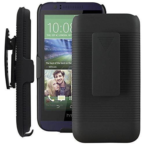 SOJITEK HTC Desire 510 Black Holster Case 2-in-1 Hybrid Hard Shell Holster Combo With Kickstand & Belt Clip (Htc Desire 510 Case Belt Clip compare prices)