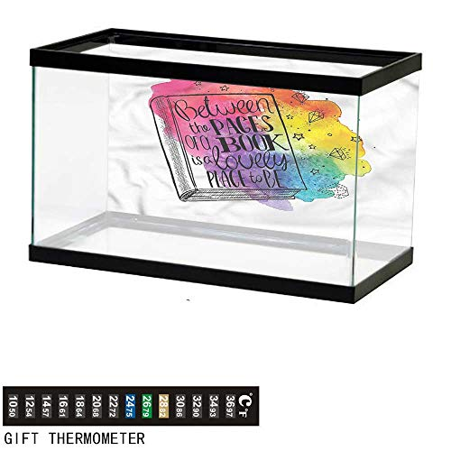 - bybyhome Fish Tank Backdrop Book,Quote Between Pages Vivid,Aquarium Background,48