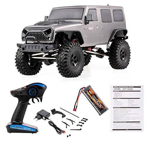 (HUAXING RC Car 1/10 2.4G 4WD RC Rock Crawler SUV Off-Road Truck Climbing Cars Remote Control Toys,Silver)