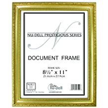 NuDell 8.5-Inch x 11-Inch Prestigious Traditional Document Frame Glass Face, Gold