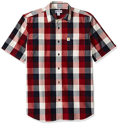 Carhartt Men's Essential Plaid Open Collar Short Sleeve Shirt, 639-Sun-Dried Tomato, X-Large