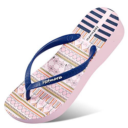 Hotmarzz Women's Floral Pattern Wedge Flip Flops Platform Sandals High Heel Slippers 2019 Season, 5 B(M) US / 36 EU, Pink Floral Series, Dark Blue