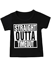 Annvivi Straight Outta Timeout Funny Toddler/Infant Kids Short Sleeve Letter T-Shirt