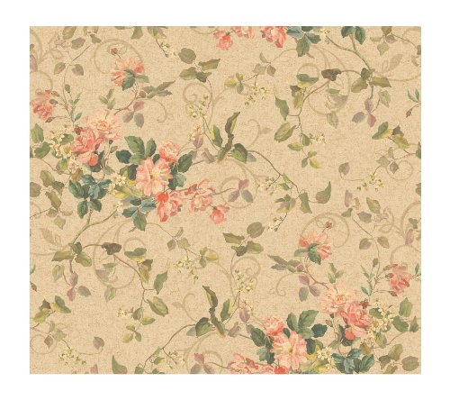 York Painted Garden (York Wallcoverings Painted Garden Aged Floral Branch Prepasted Wallpaper, Deep Beige/Hint Of Green)