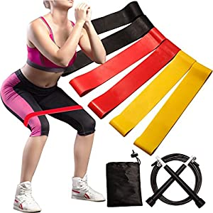 Exercise Resistance Loop Bands Set of 6 for Workout ,Yoga,Pilates,Stretching,Physical Therapy and Fitness Training-with Carry Bag and Free Steel Wire Adjustable Speed Jump Rope