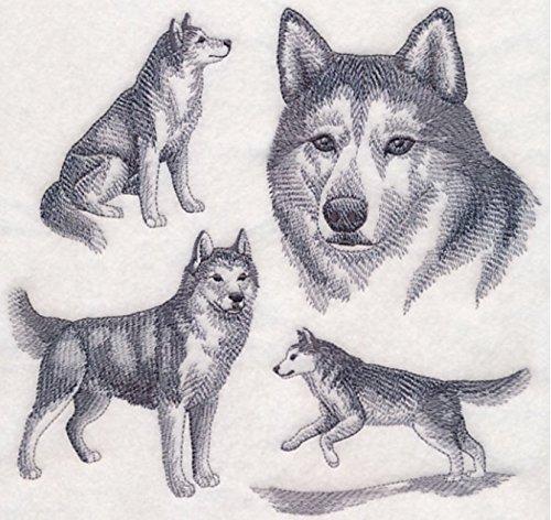 Siberian Husky Custom Embroidered Sweatshirt Shirt - Embroidered Siberian Husky