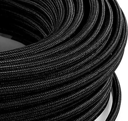 Câble électrique en tissu rond Rond Style Vintage avec revêtement coloré Noir H03VV-F section 2x 0,75pour lustres, lampes, abat jour, Design. Fabriqué en Italie MeToo Design