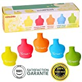 Silicone Sippy Cup Lids Set for Kids Toddlers Babies Safe Food BPA Free Silicone Spill Proof Soft Healthy Elephant Sprouts (5 PCS)