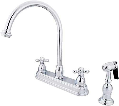 Kingston Brass KB3751AXBS Restoration Deck Mount Kitchen Faucet, Cross Handle with Brass Sprayer, 8-1 2-Inch, Polished Chrome