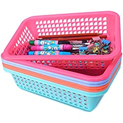 Rectangular Small Plastic Storage Baskets Organizer,Set of 8 in 4 Assorted Colors,Pink/Teal/Blue/Orange,Honla