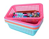 Honla Rectangular Small Plastic Storage Baskets Organizer,Set of 8 in 4 Assorted Colors,Pink/Teal/Blue/Orange