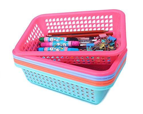 Honla Rectangular Small Plastic Storage Baskets Organizer,Set of 8 in 4 Assorted Colors,Pink/Teal/Blue/Orange by Honla