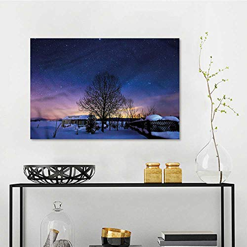 one1love Night Sky Original Oil Painting Hokkaido Biei at Winter Office Art Decoration W27 xL19