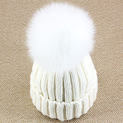 Dikoaina Womens Girls Knitted Fur Hat Real Large Silver Fox Fur Pom Pom Beanie Hats (White with White Fox pom)