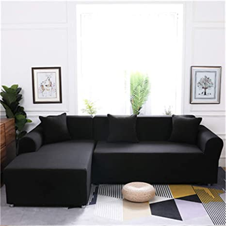 Elasticity L Shaped Sofa Cover Single/Double/Three/Four-Seat Sofa  Slipcovers Cotton Solid Sofa Cover for Living Room Seat Cover 2  Single-Seater