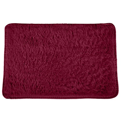 Shaggy Fluffy Rugs Anti-Skid Area Rug Dining Room Carpet Bedroom Floor Mat Home (burgundy) Burgundy Solids Braided Rug