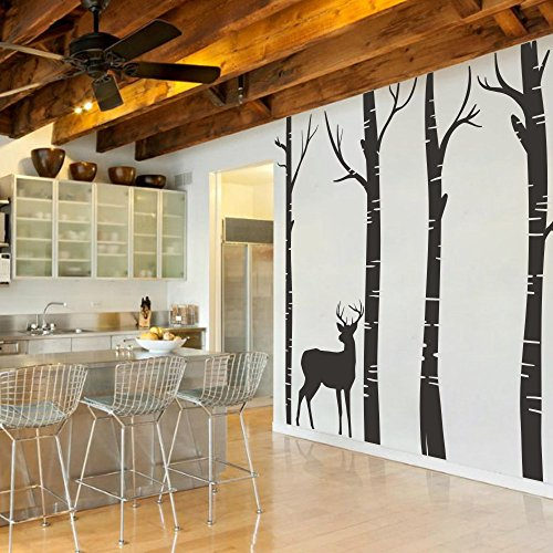 MairGwall Nature Decor Deer Vinyl Birch Tree Wall Decal Nursery Room Wall Vinyl Bedroom Art Graphics (96