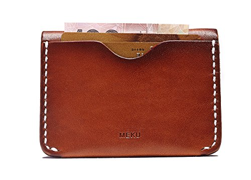 MEKU Men's Handmade Minimalist Leather Wallet Credit Card Holder Slim Card Wallet Tan Father Day Gifts