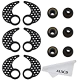 ALXCD Earhook for Jaybird Bluebud X X2, Large Size 3 Pair Anti-Slip Sport Ear Hook & 3 Pair Durable Soft Silicone Replacement Ear Tip, Fit for Jaybird X X2 Earphone (Black-L)