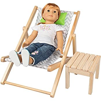 """Yellow Striped Beach Chair made for 18/"""" American Girl Dolls Accessory"""