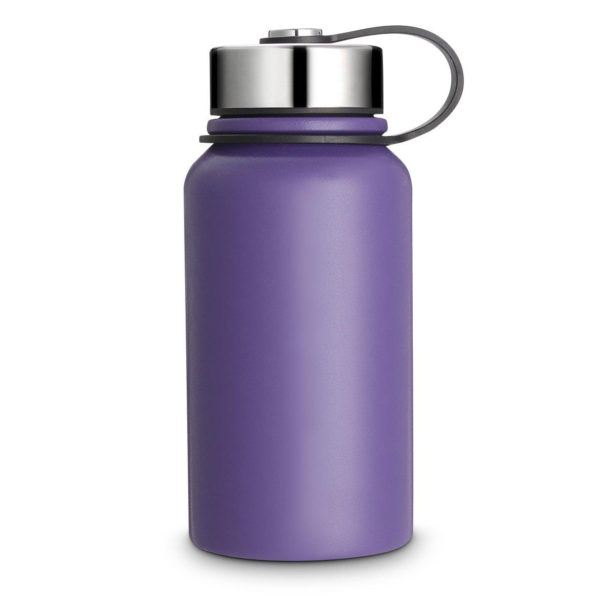 KINGSO 保温水筒 20液量オンス 広口 BPA不使用 トラベルマグ 2層構造 ステンレス鋼 スポーツ真空ボトル 保冷 保温 熱い飲み物 冷たい飲み物に B076CRB7F4 パープル 30 oz