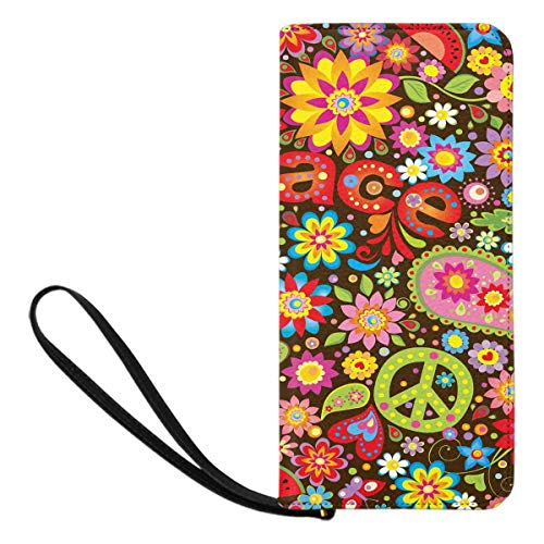 InterestPrint Women's Funny Hippie Peace Sign Paisley Flowers Credit Card Wallet Clutch Purse, Huge Storage Capacity