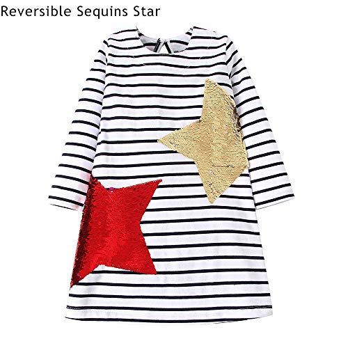 (Girls Reversible Sequin Dress Star Striped Long Sleeve Kids Cotton Dress)