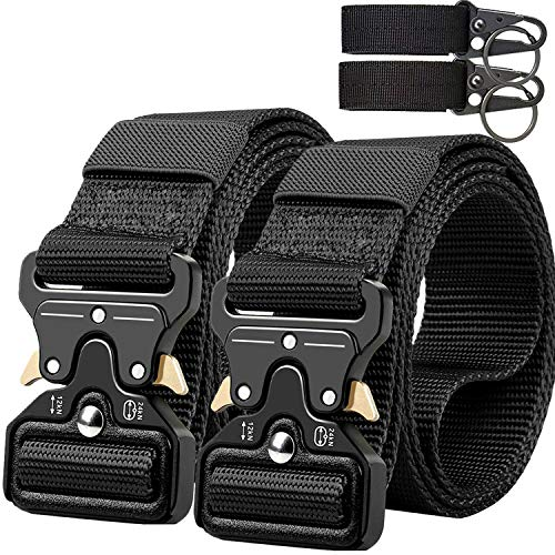 QINGYUN Tactical Belt,Military Style Webbing Riggers Web Gun Belt with Heavy-Duty Quick-Release Metal Buckle with 2 Keychains (Black) ()