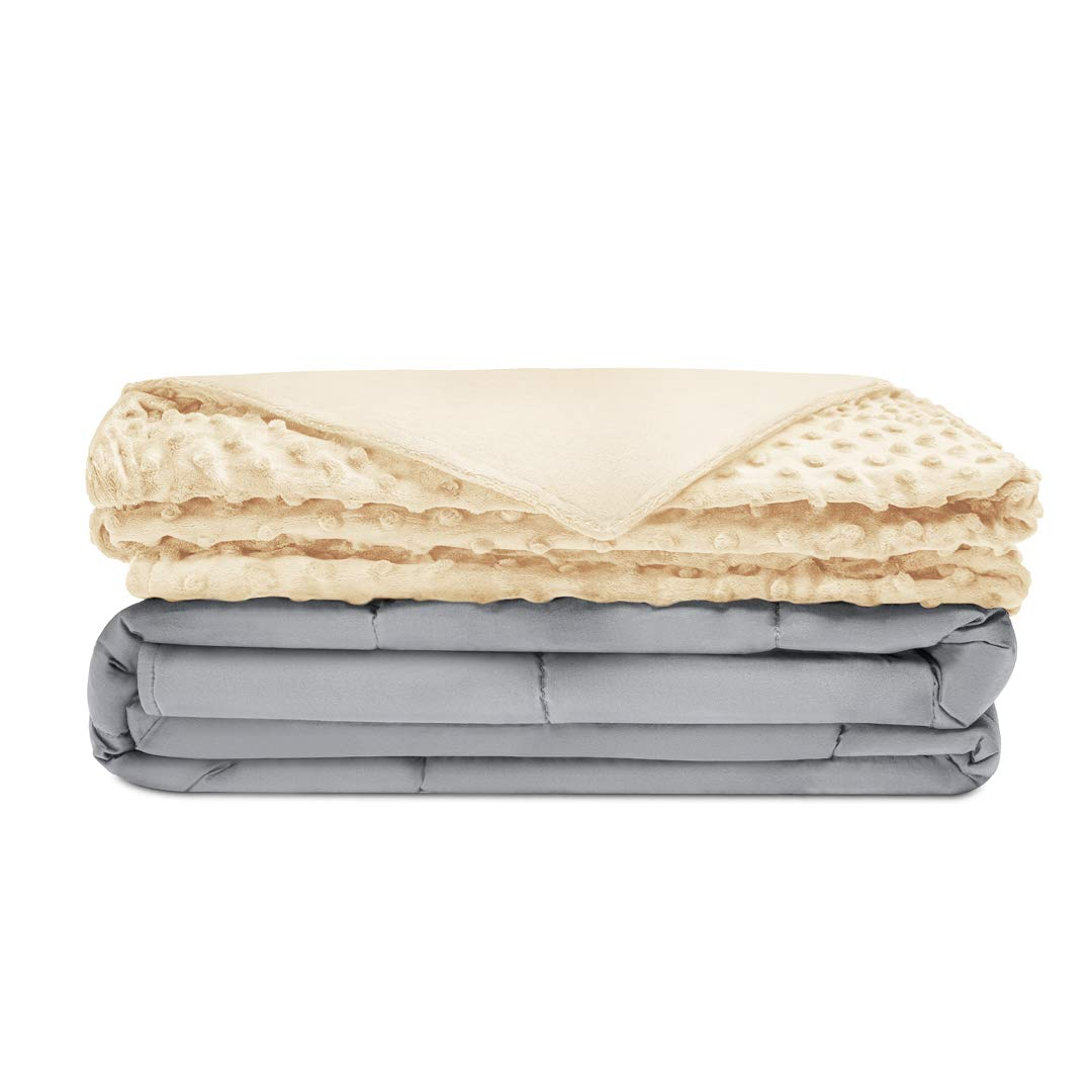 Quility Premium Kids Weighted Blanket & Removable Cover | 07 lbs | 41''x60'' | for a Child Between 70-90 lbs | Single Size Bed | Premium Glass Beads | Cotton/Minky | Grey/Ivory by Quility