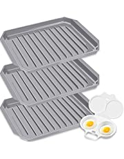 3 Pack Microwave Bacon Cooker, Microwave Bacon Tray Microwave Egg cooker with 2 Cavity Compact Egg Maker, Bacon Grease Container Bacon Tray for Microwave Cooking (Gray)