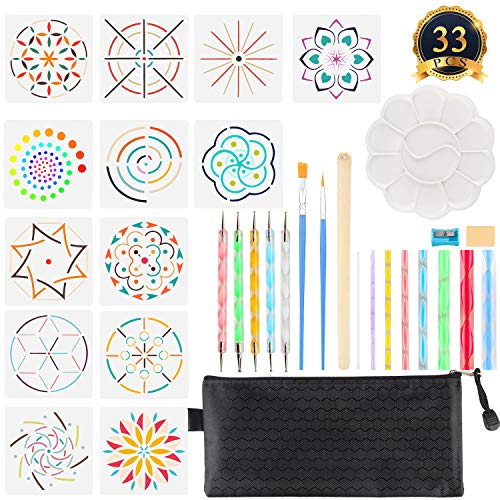 SUBANG 33 Pieces Mandala Dotting Tools Rock Painting Pen Dot Dotting Tools for Mandala Rock Painting, Coloring, Drawing & Drafting, Kids' Crafts, Nail Art, Painting by SUBANG