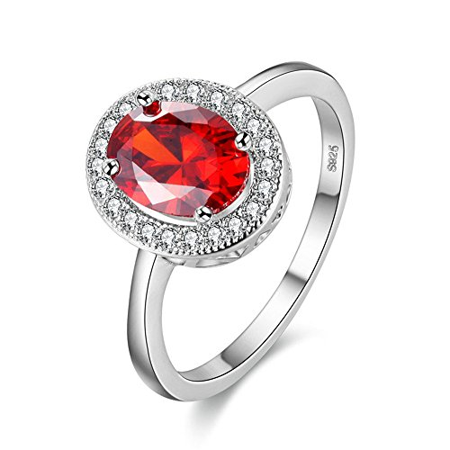 Simulated Ruby Cocktail Ring (Uloveido Cushion Cut Simulated Ruby Cubic Zircon Silver Cocktail Wedding Band Ring PJ4262-Silver-Red-9)