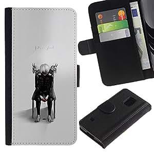 KLONGSHOP // Tirón de la caja Cartera de cuero con ranuras para tarjetas - Tokio Ghost - Samsung Galaxy S5 V SM-G900 //
