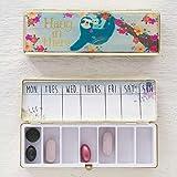 Natural Life Daily Pill Case/Vitamins Organizer Pill Box- Hang in There Sloth