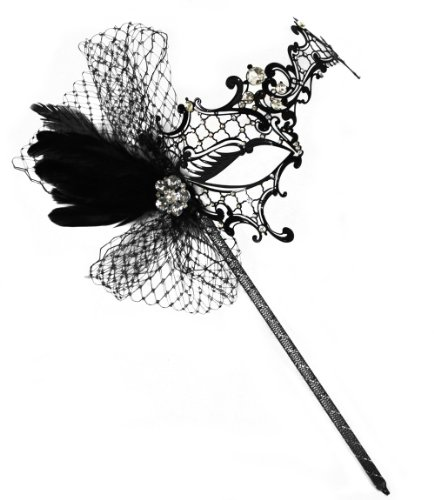 Success Creations Colette Deluxe Metal Black Venetian Masquerade Mask on a Stick for Women -
