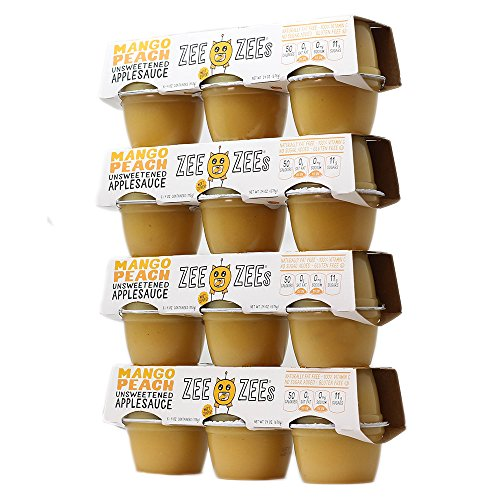 (Zee Zees Unsweetened Mango Peach Applesauce Cups, All Natural, No Sugar Added, 4 oz Cups, 24 pack)
