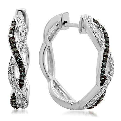 Dazzlingrock Collection 0.25 Carat (ctw) 14K Blue & White Diamond Ladies Twisted Swirl Hoop Earrings 1/4 CT, White Gold