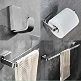 ELLO&ALLO Brushed Nickel Bathroom Accessories Set,Stainless Steel Towel Bar Wall Mounted Bath Hardware Accessory Set