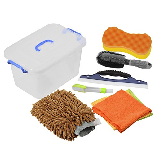 DEDC Car Wash Tool Kit Exterior and Interior Cleaning Tools in Box UPGRADED, Car Vent Brush Tire Brush Wash Mitt Sponge Wax Applicator Microfiber Cloths Window Water Blade 7pcs Coffee, Gift
