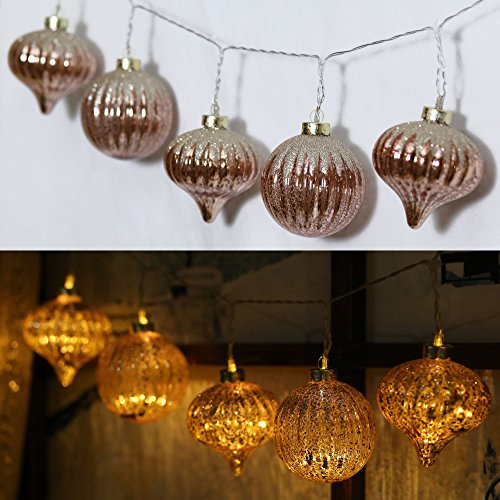 Valery Madelyn 7.2Ft Trendy Christmas Glass Ball Garland with 10 Led Lights in Rose Gold Color, Battery Operated (Christmas Staircase Garland)