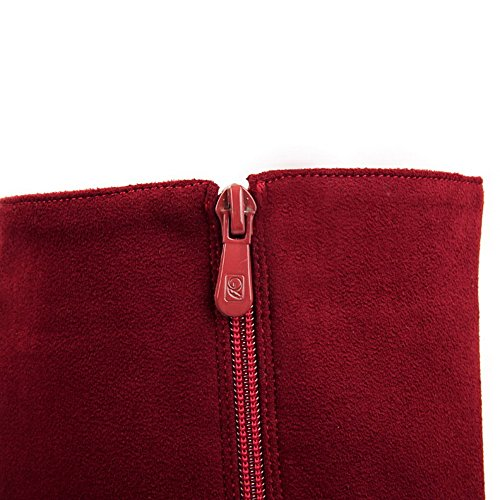 Heels Boots Top Suede Imitated Low Red Zipper WeiPoot Women's Mid Solid WFUAAg