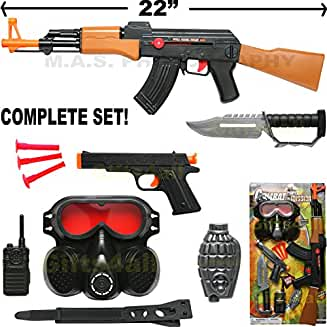 AK-47 TOY ASSAULT RIFLE KID BOY MACHINE GUN SOUND MILITARY ARMY CAR-15 M-16