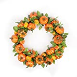 FAVOWREATH 2018 Fall Series FAVO-W51 Handmade 15 inch Halloween Orange Pumpkin Grapevine Wreath For Autumn Season Festival Celebration Front Door/Wall/Fireplace Wedding Floral Craft Hanger Home Decor